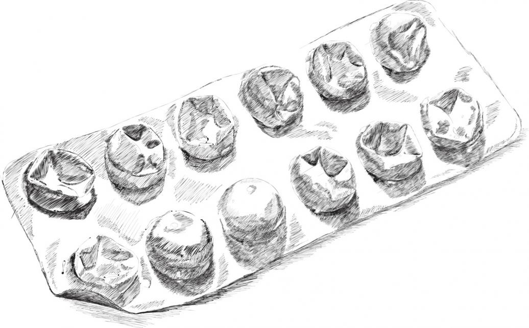 Image of a pill blister pack with some blisters empty.